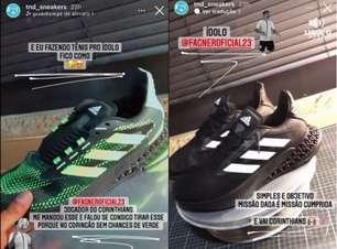 Ídolo no Corinthians, Fagner manda transformar tênis verde em preto e branco