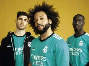 Real Madrid lança novo 3º uniforme com Marcelo de modelo