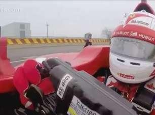 De dentro do carro! Veja primeira volta de Vettel na Ferrari
