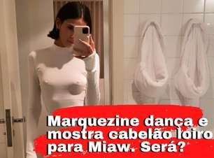 Marquezine dança e exibe cabelão loiro em ensaio do Miaw