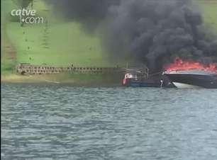 Lancha e Jet Ski pegam fogo em Marinas de Boa Vista