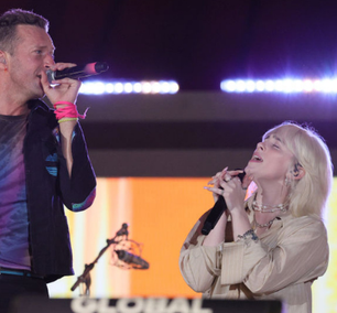 "Billie Eilish canta ""Fix You"" com Coldplay no Global Citizen Live"