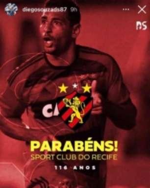 Amor antigo, Diego Souza parabeniza o Sport pelos 116 anos do rubro-negro