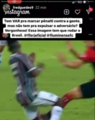 Fred reclama que VAR não entrou em ação para expulsar jogador do Fla: 'Essa imagem tem que rodar o Brasil'