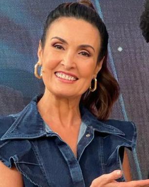 Fátima Bernardes usa macacão jeans alongador de R$ 239,90
