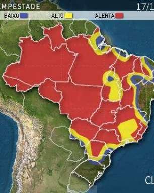 Temporais ganham força no Brasil ao longo deste domingo
