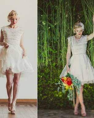 Vestidos curtos realçam elegância e charme das noivas; veja modelos