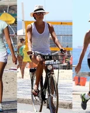 Ativas, famosas passeiam e se exercitam nas orlas do Rio