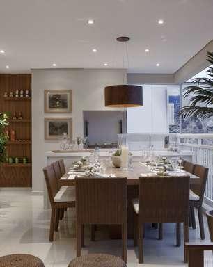 Apartamento tem salas de jantar e estar em varanda de 32 m²