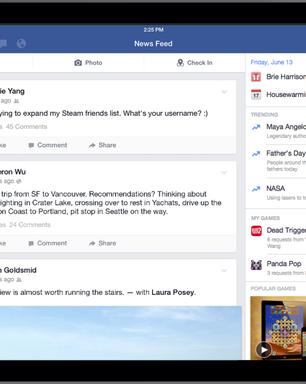 Facebook ganha atualização para iPad