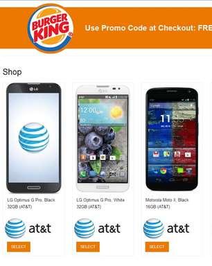 Burger King dá smartphones em promoção nos EUA