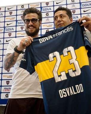 Fã de Riquelme, Osvaldo é apresentado no Boca Juniors