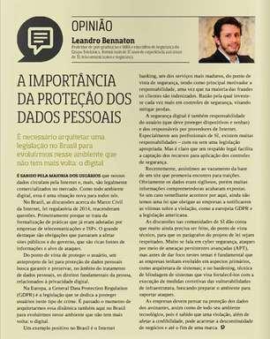 Leandro Bennaton fala sobre proteção de dados pessoais na Revista Abranet