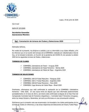 Conmebol cancela Libertadores feminina, de futsal e futebol de areia em 2020