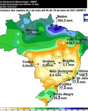 Maio está sendo de grandes contrastes de chuva no Brasil