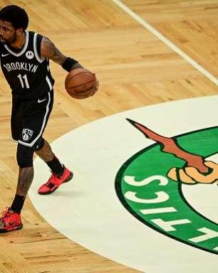 Com raiva, Kyrie Irving pisou em logo do Celtics