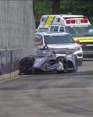 Grosjean bate na Indy pela primeira vez e causa bandeira vermelha em Detroit