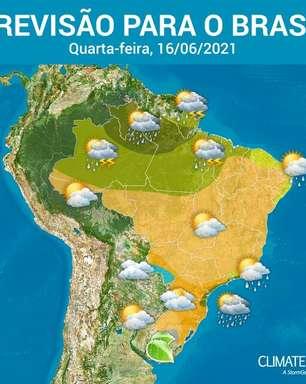 Quarta-feira com pouca chuva no Brasil