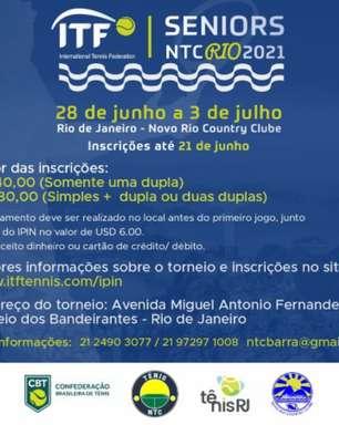 Inscrições para torneio Seniors Internacional do Rio de Janeiro terminam nesta segunda