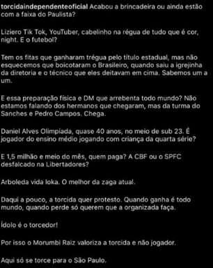 Após derrota no clássico contra o Santos, torcida organizada do São Paulo protesta nas redes sociais