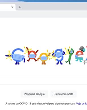 Google Doodle incentiva brasileiros a tomarem vacina contra COVID-19