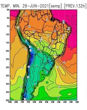 Nova e forte onda de frio no final do mês no BR