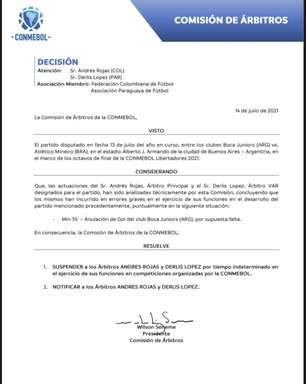 Conmebol suspende árbitros de Atlético-MG e Fluminense
