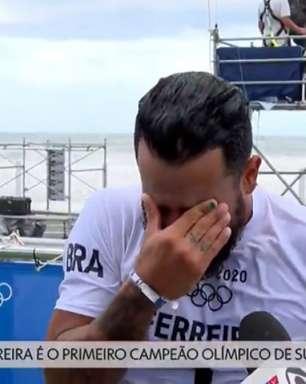 Repórter chora, Everaldo Marques 'desafina' e depois desabafa... emoção toma conta com ouro de Italo no surfe