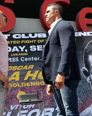 Vitor Belfort e De La Hoya fazem primeira encarada e prometem combate histórico em setembro