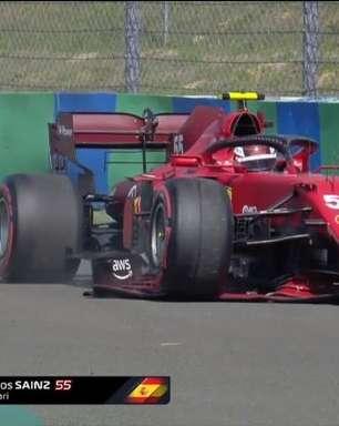 Sainz escapa na curva 14, acerta barreira e interrompe classificação na Hungria