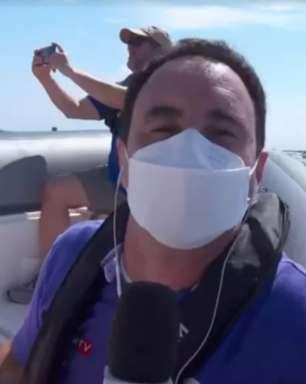 Globo escala Pedro Bassan em bote e balanço do mar ataca a labiritinte da web: 'Se não vomitou é herói'