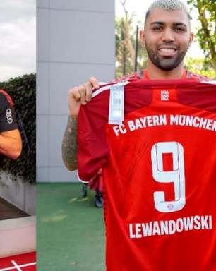 Após live, Lewandowski e Gabigol trocam camisas autografadas