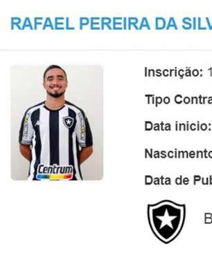 Nome de Rafael já aparece no BID e jogador já pode estrear pelo Botafogo