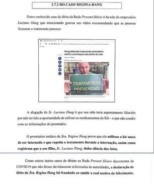 Declaração de óbito da mãe de Luciano Hang foi fraudada na Prevent Senior, diz dossiê entregue à CPI