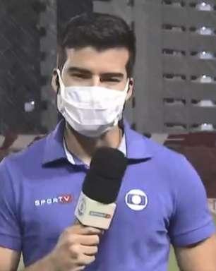 Repórter da Globo toma banho ao vivo durante transmissão da Série B