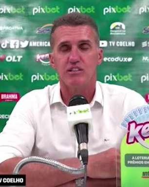 """AMÉRICA-MG: Mancini cita excelente jogo de futebol e grande partida do time no empate contra o Flamengo: """"vejo o América cada dia melhor"""""""