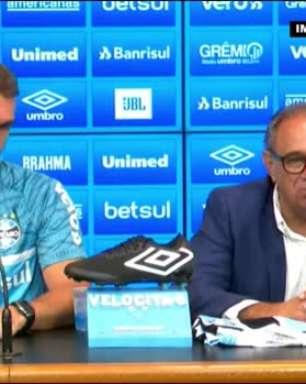 """GRÊMIO: Dênis Abrahão apresenta Mancini e garante convicção no trabalho do novo treinador: """"A partir de domingo as coisas vão começar a mudar"""""""