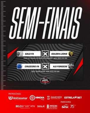 Galo FA, Cruzeiro FA, Golden Lions e Nova Serrana Forgeds estão na disputa da Liga MGFL Hinova 2021