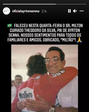 Morre Milton da Silva, pai de Ayrton Senna