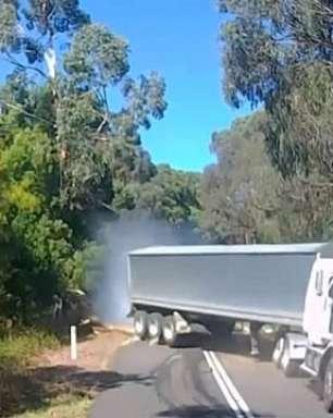Motorista escapa por pouco de choque com caminhão desgovernado; assista