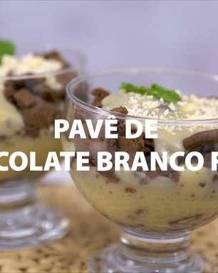 Pavê de chocolate branco fácil pronto em 30 minutos