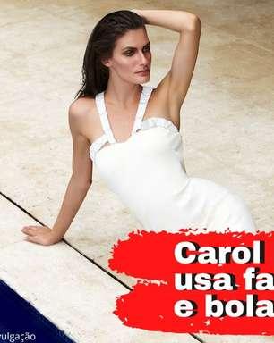 Carol Francischini se exercita com bola da filha, faixa e corda