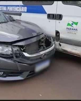 Viatura do Depen se envolve em acidente de trânsito no Centro