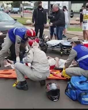 Motociclista sofre fratura na perna esquerda em acidente no Bairro São Cristóvão