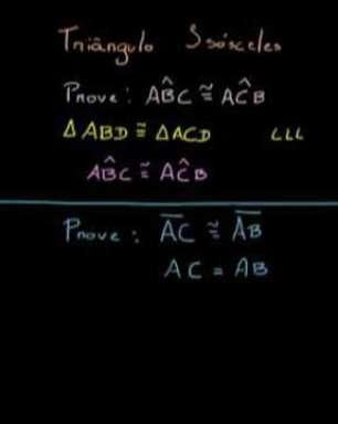 Lados congruentes e ângulos da base de um triângulo isósceles