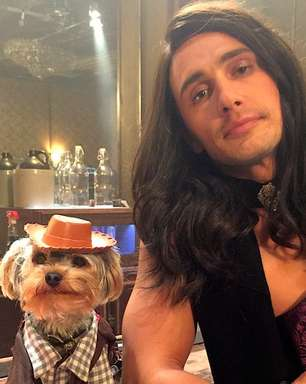 """Vestido de mulher, James Franco mostra """"cãozinho caubói"""""""
