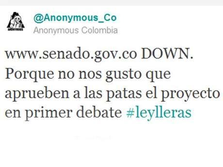 El ataque, para que la página web del Senado colapsara, duró 52 segundos, segun 'Anonymous'.