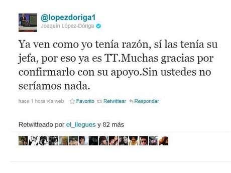 Joaquín López Dóriga insulta a seguidor en Twitter.