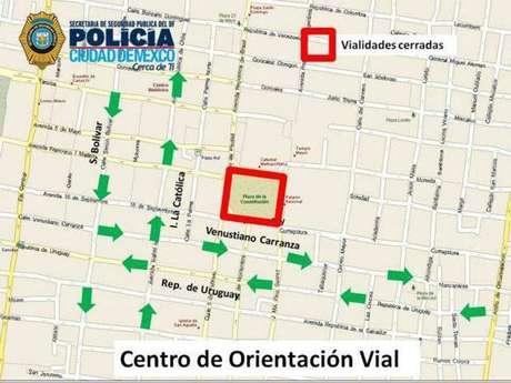 La Policía realizó cierres viales desde la glorieta de la Fuente de Petróleos hasta el Zócalo.