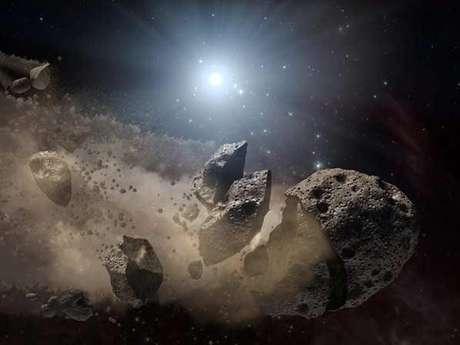 Datos de la misión WISE de la NASA permitieron a un artista crear esta imagen de un asteroide gigante.